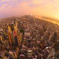 New York City skyline with Manhattan skyscrapers at dramatic stormy sunset, USA. Royalty Free Stock Photo