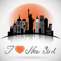New York City skyline with reflection. eps 10 vector Royalty Free Stock Photo