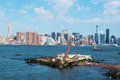 New York City skyline seen from Brooklyn, East River side, skyscrapers, Manhattan Bridge, panoramic view Royalty Free Stock Photo