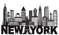 New York City Skyline and Text Black and White Illustration Royalty Free Stock Photo