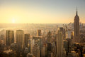 New york city skyline with urban skyscrapers at gentle sunrise famous manhattan view usa Stock Image