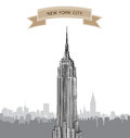 New york city skyline vector usa landscape hand drawn sketch background cityscape in the early morning manhattan with empire state Stock Photo