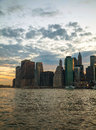 New york city skyscrapers in the evening at sunset Stock Photos