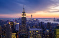 New york city with skyscrapers at sunset Royalty Free Stock Image