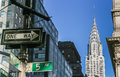 New York City street signs and Chrysler building Royalty Free Stock Photo