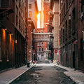 New York City street at sunset time. Old scenic street in TriBeCa district in Manhattan. Royalty Free Stock Photo