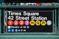 New york city subway times square station entrance sign Royalty Free Stock Photos
