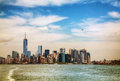 New york city on a sunny day panorama cloudy Stock Images