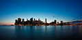 New york city sunset view from brooklyn bridge park to lower manhattan Royalty Free Stock Images