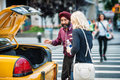 New york city taxi cab driver picking up passanger from the street june Royalty Free Stock Image