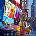 New york city times square nov manhattan usa th of november busy night scene with glowing led Royalty Free Stock Image