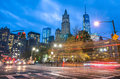 New York City traffic - Blurred lights with Manhattan skyline Royalty Free Stock Photo