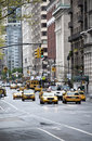 New york city traffic with lots of yellow taxi cabs Stock Images