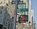 New york city traffic signal at the busy intersection of th ave and th street Stock Photos