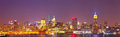 New york city usa colorful night skyline panorama with illuminated landmark buildings in downtown business and residential Stock Images