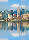 New york city usa downtown buildings with reflection Royalty Free Stock Images