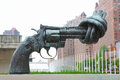New york city usa july gun tied barrel representing peace united nations headquarters Royalty Free Stock Photos