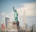 New York City, USA skyline panorama with statue of liberty Royalty Free Stock Photo