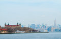 New york city view of from liberty island Stock Photos