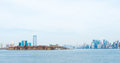 New york city view of from liberty island Stock Images