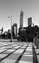 New york city walkway and lower manhattan skyline along the hudson river Royalty Free Stock Photo