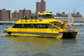 New york city water taxi april on april nyc offering commuter and sightseeing service along the east river and Stock Images
