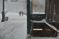 New york city winter storm jonas causes subway shutdowns in nyc an upper west side station next to central park Royalty Free Stock Image