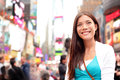 New york city woman as times square tourist or young casual woman visiting beautiful young happy smiling multicultural caucasian Stock Images