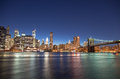 New york city wonderful summer sunset view of lower manhattan skyline and brooklyn bridge Royalty Free Stock Photo