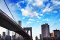 New York City. Wonderful sunset view of Brooklyn Bridge and Manh Stock Photo