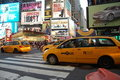 New York City yellow cabs in Times Square Royalty Free Stock Photo