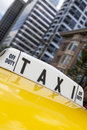 New york city yellow taxi cab close up of roof sign on moving Stock Photos
