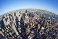 New York cityscape with fisheye Royalty Free Stock Images