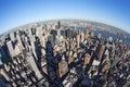 New York cityscape with fisheye Royalty Free Stock Photo