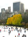 NEW YORK - DECEMBER 3: Ice skaters having fun in Central Park Stock Photo