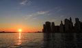 New York Downtown Manhattan Sunset Royalty Free Stock Photo