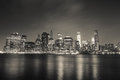 New york financial district in wide angle in night view Royalty Free Stock Photo
