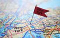 New York flag and map Royalty Free Stock Photo