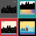 New York Illustration, flat design city landscape, silhouette isolated buildings. EPS 10,