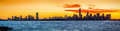 New York and Jersey City skylines at sunrise Royalty Free Stock Photo