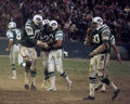 New york jets congratulate joe namath members of the offensive line their qb on a touchdown image taken from color slide Royalty Free Stock Photography