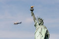 New york july nypd helicopter guards statue liberty Stock Image