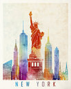 New york landmarks watercolor in poster Stock Images