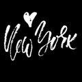 New York lettering. Hand drawn modern dry brush calligraphy. Isolated illustration.