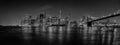 New York manhattan bridge night view Royalty Free Stock Photo