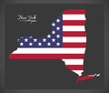 New York map with American national flag illustration Royalty Free Stock Photo