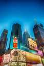 New york may featured with broadway theaters and animated led signs is a symbol of city the united states in Stock Image