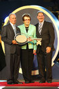 New York Mayor Michael Bloomberg, Billie Jean King and USTA Chairman, CEO and President Dave Haggerty during US Open 2013 opening Royalty Free Stock Photo