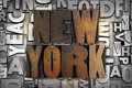 New york the name written in vintage letterpress type Royalty Free Stock Photos