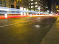 New York Night Traffic Royalty Free Stock Photography